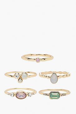 Confezione con anelli sovrapponibili con gemme miste