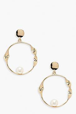 Orecchini a cerchio ritorti & perla
