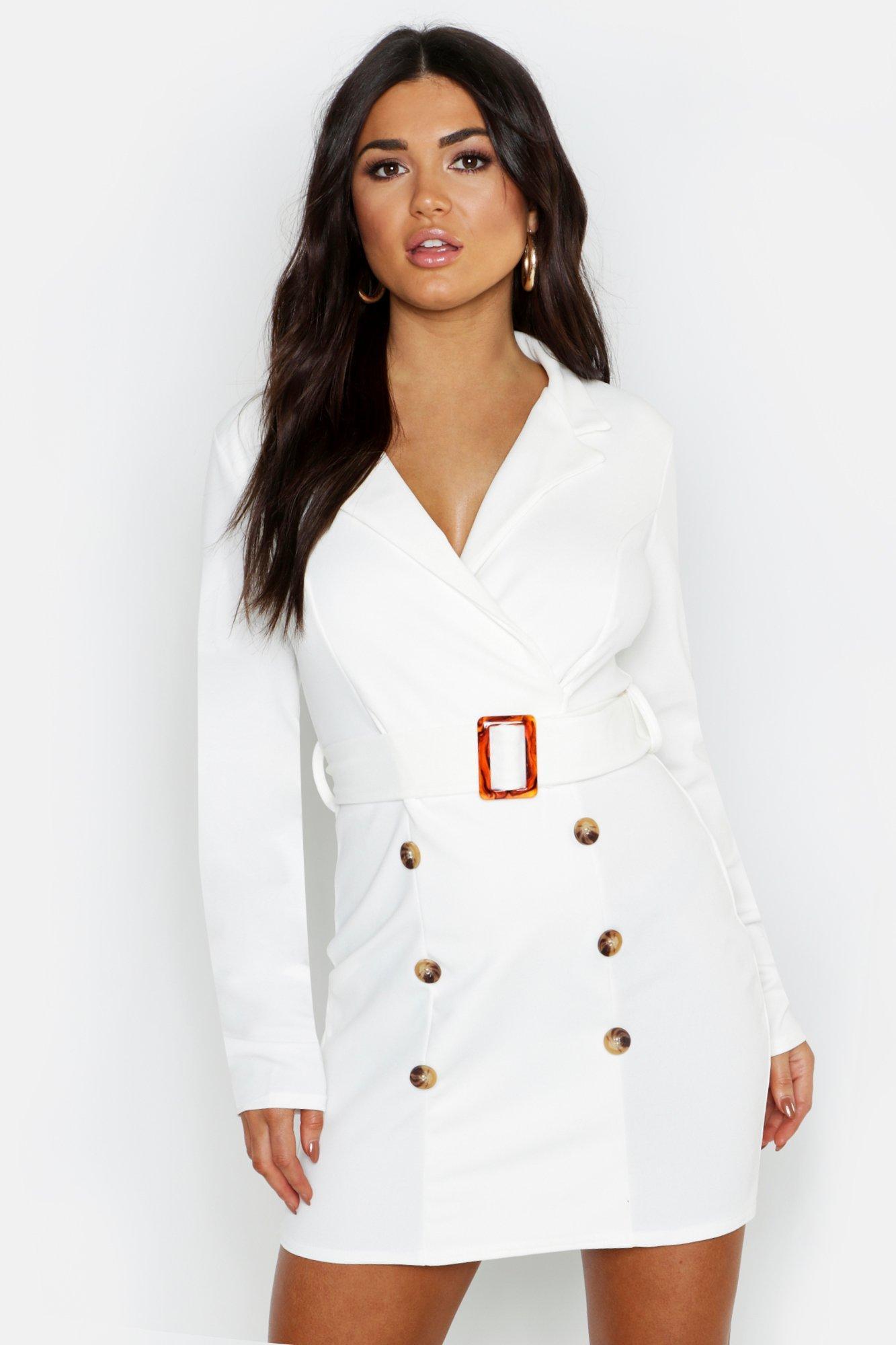 Купить К нам поступают платья, Облегающее платье-блейзер с поясом с пуговицами спереди, boohoo