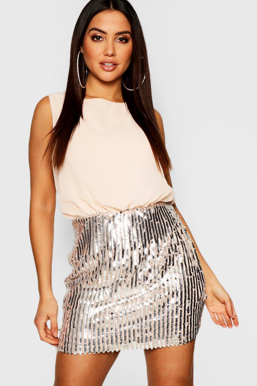 Купить Dresses, Платье 2 в 1: Топ из шифона и юбка с блестками, boohoo