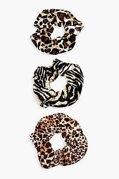 Confezione 3 nastri per capelli animalier mix
