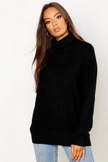 Black Roll Neck Knitted Oversized Jumper