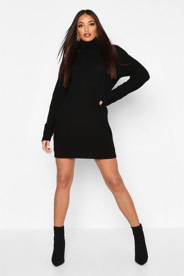 Black Oversized Roll Neck Dress
