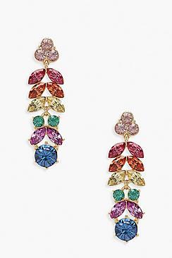 Orecchini lunghi con gemma arcobaleno pendente