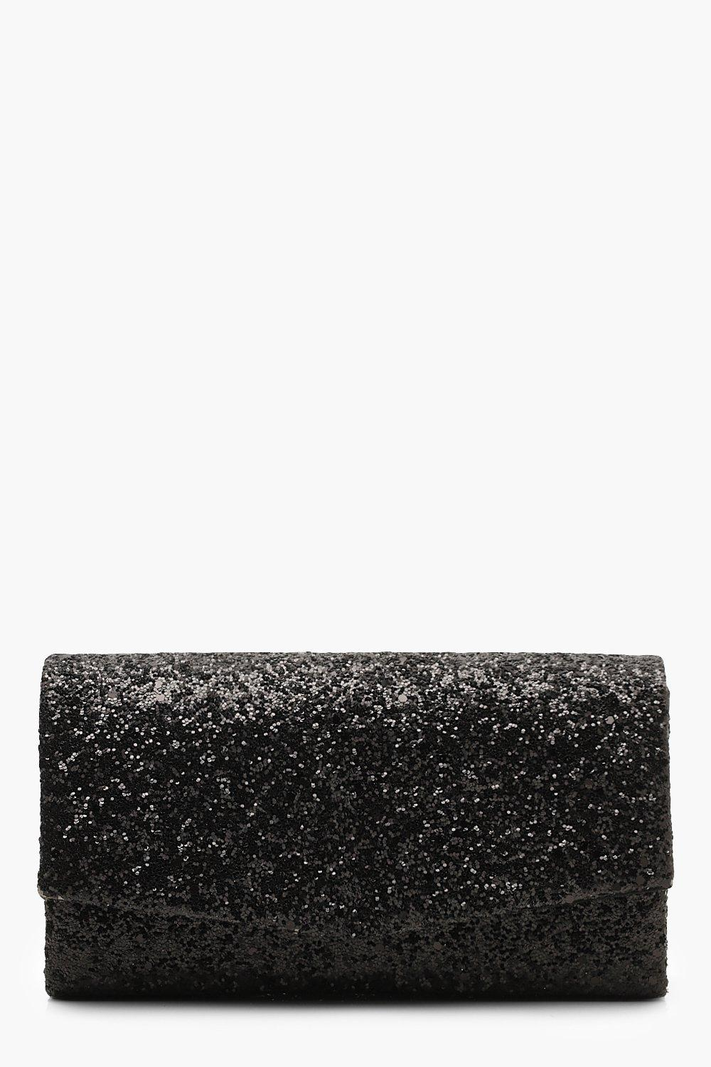 boohoo Womens Structured Glitter Envelope Clutch Bag With Chain - Black - One Size, Black