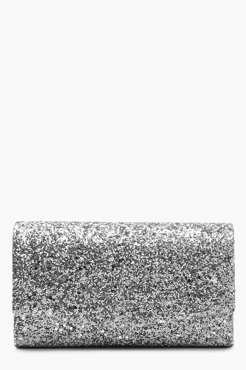 boohoo Womens Structured Glitter Envelope Clutch Bag With Chain - Grey - One Size, Grey