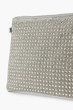 All Over Diamante Zip Top Clutch With Chain