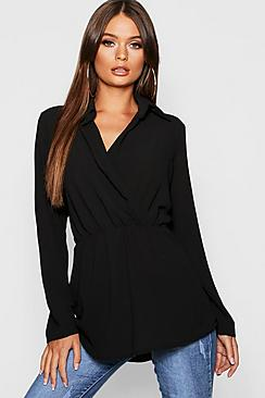 Gewebte Longline Bluse mit Kragen und vorderem Zierknoten - Boohoo.com