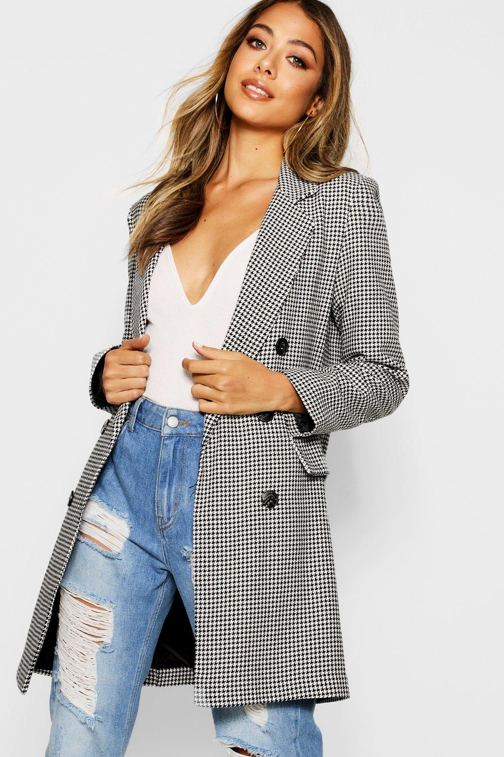 boohoo Womens Dogtooth Double Breasted Blazer - Black - 12, Black