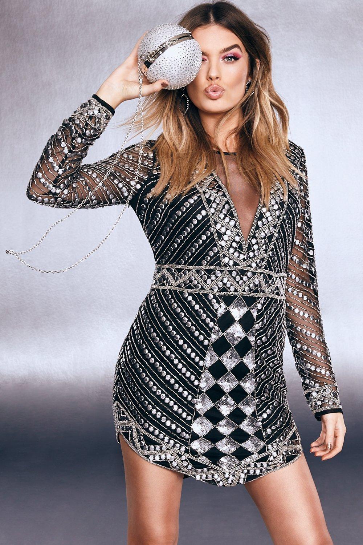 Купить К нам поступают платья, Платье премиум-класса с глубоким V-образным вырезом с декоративной отделкой с блестками, boohoo