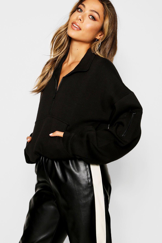 Womens Hochgeschlossener Oversized-Pullover mit vorderseitigem Reißverschluss - schwarz - S, Schwarz - Boohoo.com