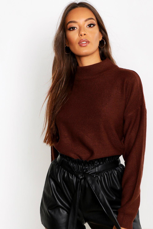 Womens Pullover mit Rollkragen - chocolate - S, Chocolate - Boohoo.com