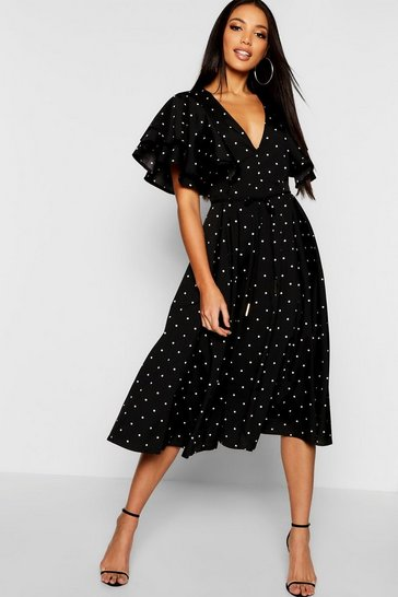 Black Mini Polka Dot Ruffle Angel Sleeve Midi Dress