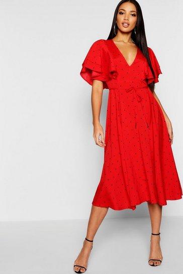 Red Mini Polka Dot Ruffle Angel Sleeve Midi Dress