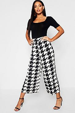 Gonna-pantalone in jersey dogtooth-
