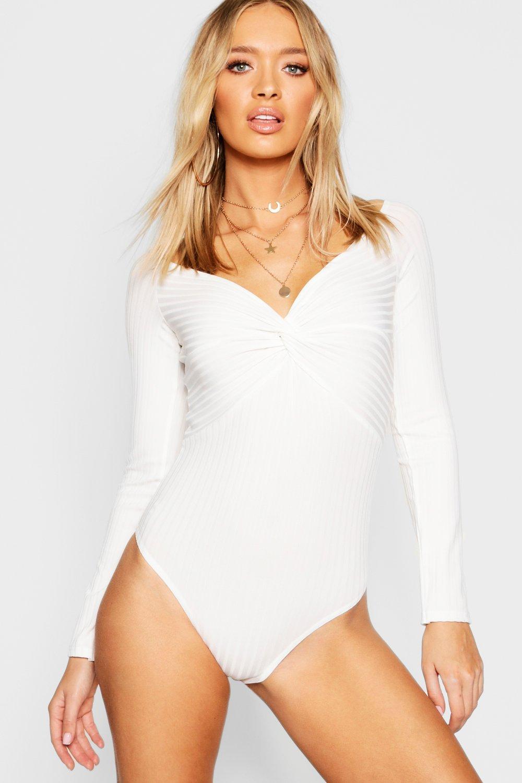 Womens Langärmeliger gerippter Body mit gedrehter Front - Weiß - 40, Weiß - Boohoo.com