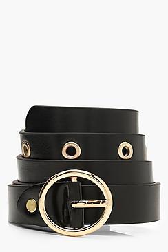 Circle Buckle Eyelet Belt