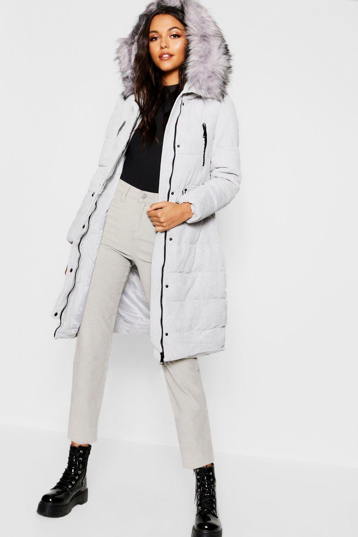 Купить Пальто и куртки, Premium Cord Парка с отделкой из искусственного меха, boohoo