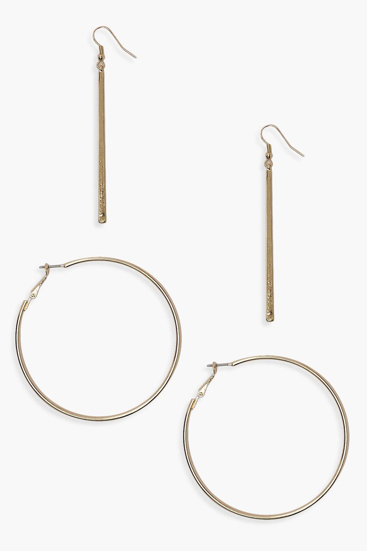 Simple Bar Drop & 6.5cm Hoop Earring Pack