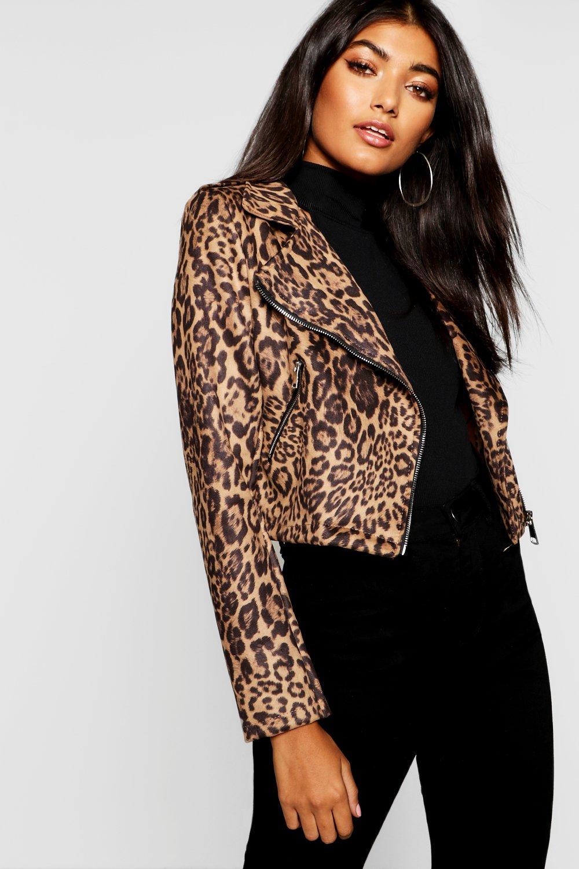 Купить Пальто и куртки, Байкерская куртка под замшу с леопардовым принтом, boohoo