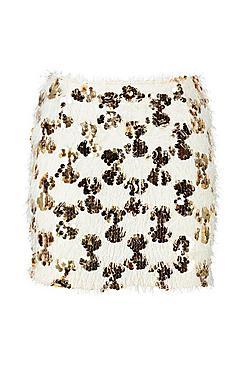 Tassel Disc Sequin Mini Skirt