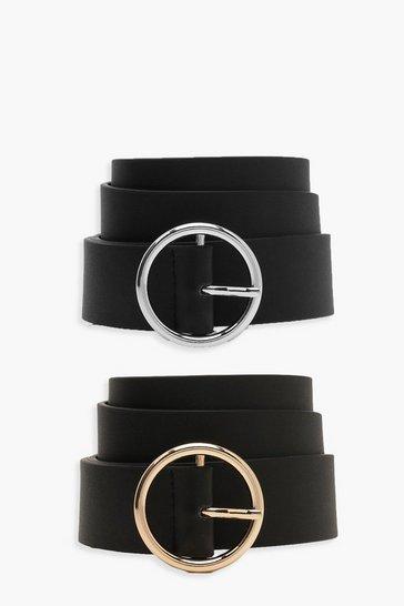 Black 2 Pck Circle Buckle Belt