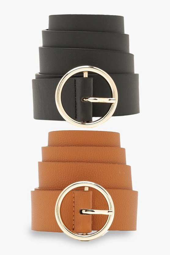 2 Pck Circle Buckle Belt by Boohoo