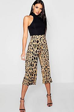 Hosenrock aus glänzendem Jersey in Leopardenmuster - Boohoo.com