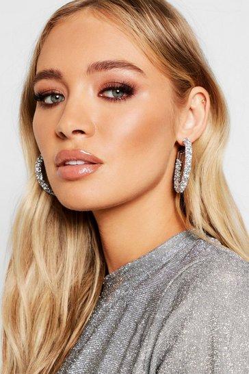 Silver Diamante Cluster Hoop Earrings