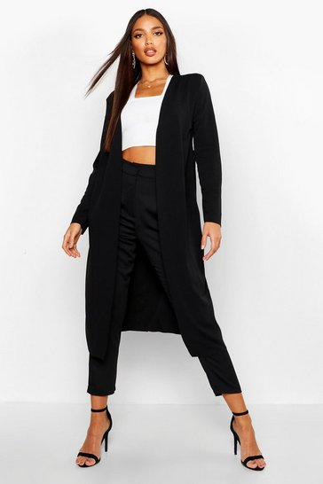 Black Ruched Waist Maxi Duster Jacket