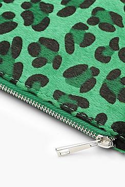 Coloured Leopard Ziptop Clutch And Chain