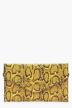 All Over Snake Envelope Clutch