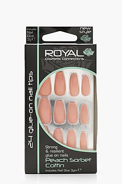 24 Peach Sorbet Coffin Nails