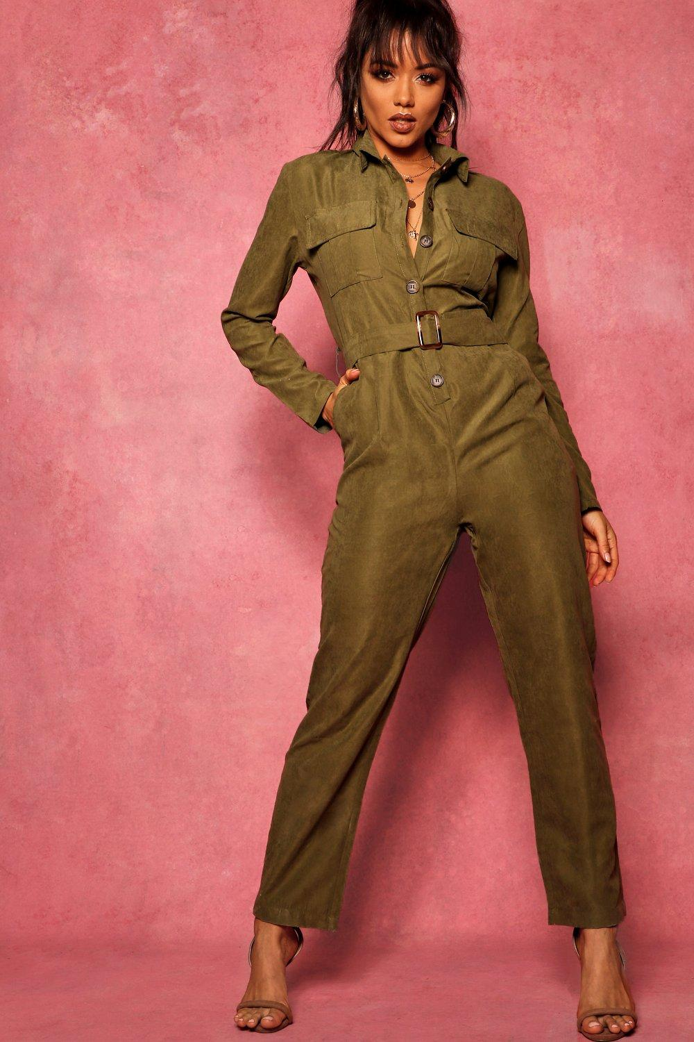 boohoo Womens Suedette Utility Cargo Belted Jumpsuit - Green - 10, Green