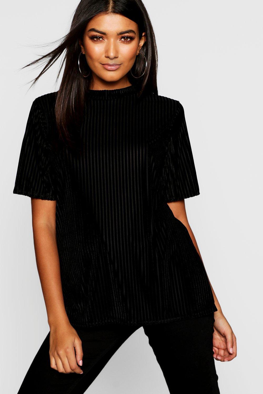 Womens Übergroßes T-Shirt aus Rippstrick in Burnout-Optik - schwarz - 34, Schwarz - Boohoo.com