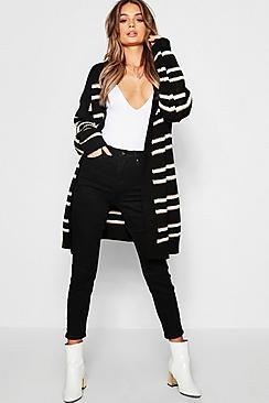 Edge To Edge Colour Block Stripe Knitted Cardigan