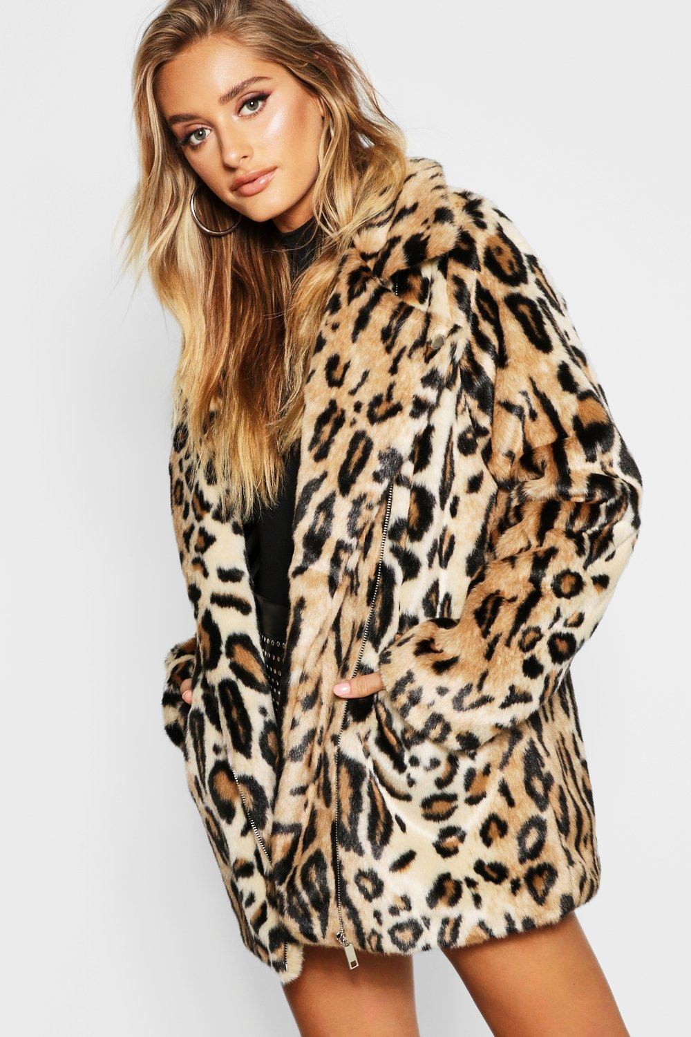 Купить Coats & Jackets, Leopard Faux Fur Coat, boohoo