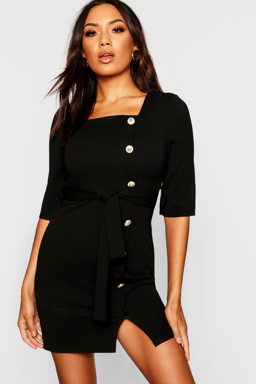Купить Dresses, Золото на пуговицах платье-футляр с квадратным вырезом из крепа, boohoo