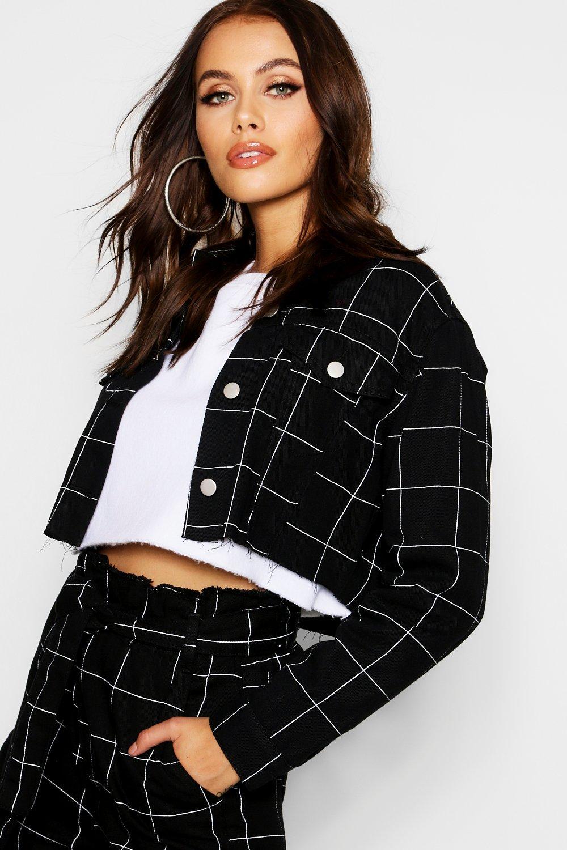 Купить Coats & Jackets, Клетка Window Pane Укороченная куртка из денима, boohoo