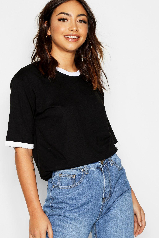 Womens Basic T-Shirts mit Ringerrücken aus Baumwolle - schwarz - 38, Schwarz - Boohoo.com