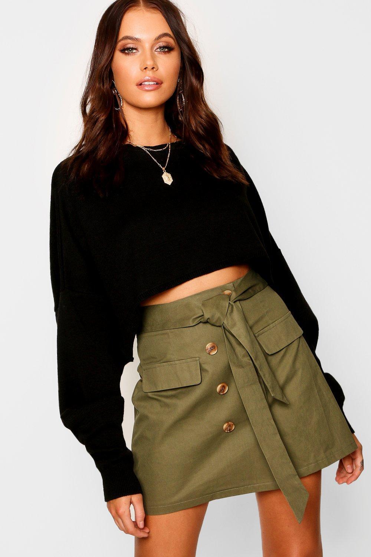 Womens Minirock mit hohe Taille, falscher Hornknopfleiste und Gürtel - khaki - 32, Khaki - Boohoo.com