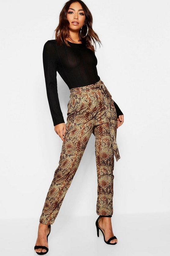 Snake Print Woven Slimline Trousers by Boohoo
