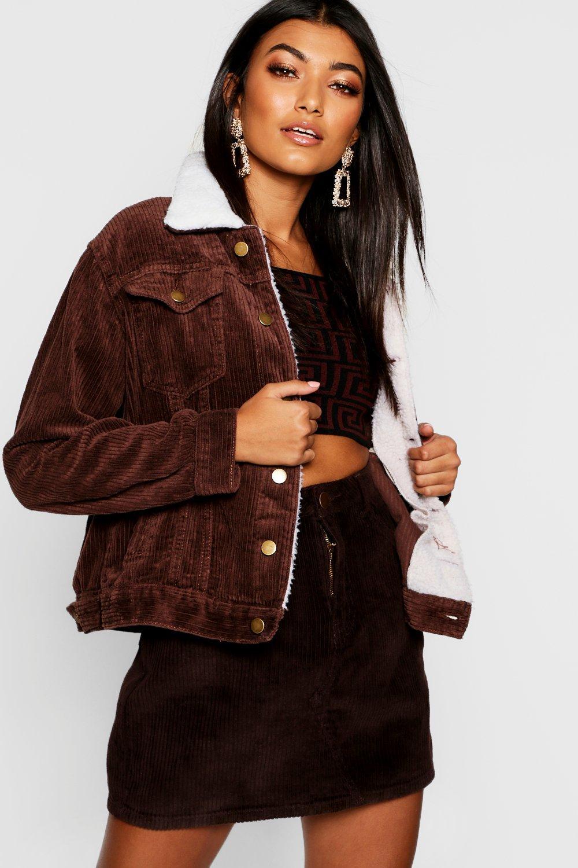 Купить Coats & Jackets, Джинсовая вельветовая куртка с воротником из искусственного меха больших размеров, boohoo