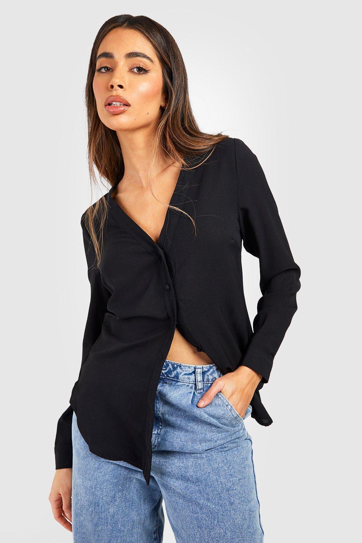 Womens Bluse mit V-Ausschnitt - schwarz - 36, Schwarz - Boohoo.com