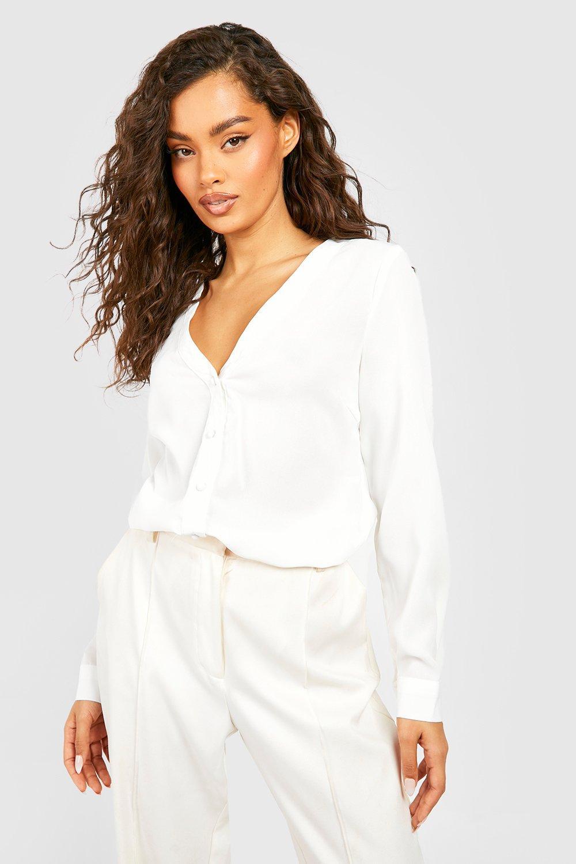 Womens Basic Hemdbluse mit V-Ausschnitt - Weiß - 36, Weiß - Boohoo.com