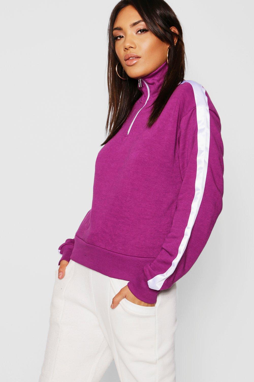 Купить Athleisure, Side Stripe Zip Detail Sweater, boohoo