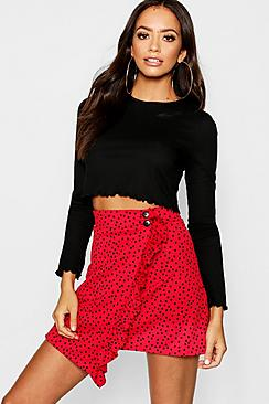 Asymmetric Wrap Ruffle Polka Dot Mini Skirt