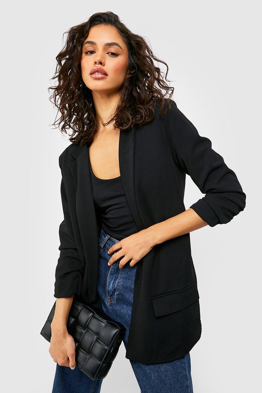 boohoo Womens Oversized V Detail Ruche Sleeve Blazer - Black - 8, Black