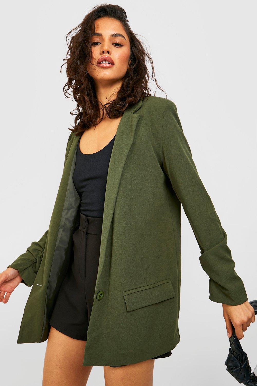 boohoo Womens Oversized V Detail Ruche Sleeve Blazer - Green - 14, Green
