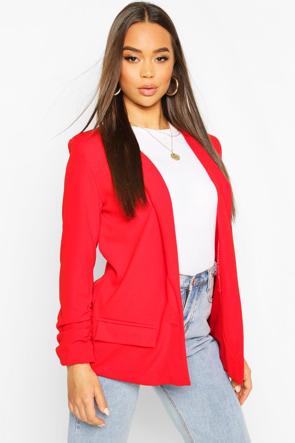 boohoo Womens Oversized V Detail Ruche Sleeve Blazer - Red - 10, Red
